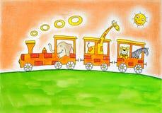 Animali sul viaggio, il disegno del bambino, pittura dell'acquerello sulla carta Fotografia Stock