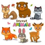 Animali svegli della foresta del fumetto Fotografia Stock Libera da Diritti
