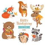 Animali svegli della foresta di ringraziamento royalty illustrazione gratis