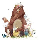 Animali svegli di compleanno - orso ed altro illustrazione di stock