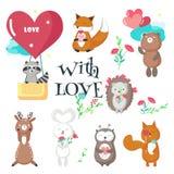Animali svegli nell'illustrazione isolata vettore di amore illustrazione di stock