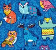 Animali tribali della foresta in blu Illustrazione di vettore Immagine Stock Libera da Diritti