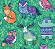 Animali tribali della foresta nel verde Illustrazione di vettore Fotografia Stock