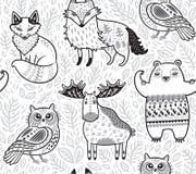 Animali tribali della foresta nello stile del fumetto Illustrazione di vettore Immagini Stock Libere da Diritti