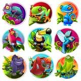 Animali tropicali del fumetto Fotografie Stock