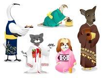 Animali in un kimono Fotografia Stock Libera da Diritti