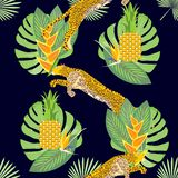 Animalistic exotic tropical seamless pattern with leopards, cheetahs. Fabric, wallpaper, background, design. Vector royalty free illustration