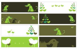 Animalistic set of banners stock illustration