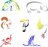 Animals 1. Set of 8 schematic animal silhouettes Stock Images