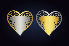 Dog head logo. hearts in silver and golden colors with pets. hand drawn hearts with animal silhouette inside. Set of two hearts in silver and golden colors with vector illustration