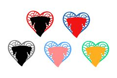 Dog head logo. Dog face. hand drawn hearts with animal silhouette inside. royalty free illustration