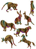 Animals. Set of animals in the ethnic style with a white background Royalty Free Stock Images