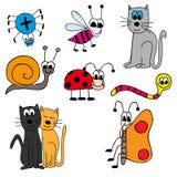 Animals. Happy vectors animals - cartoon story Royalty Free Stock Photo