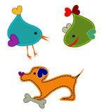Animals. Colorful animals - bird, whale and dog Stock Photo