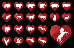 Animals. Animal icons in heart shapes Royalty Free Stock Photography