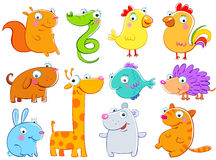 Animals. Lovely animals, children's drawings, the free technics. Also the vector format is available Royalty Free Stock Images