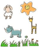Animals. Illustration, funny animals and sun, made in childish style Stock Photos