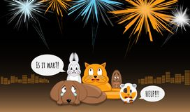 Animals afraid of loud bangs and whistles. Fireworks make stress during yearend celebrations. Dog, bunny, cat, squirrel and cavy. Sitting in stress. City light royalty free illustration