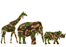 Animals africa. Animals of Africa in the ethnic style with a white background vector illustration