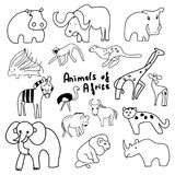 Animals of Africa funny cartoons Royalty Free Stock Images