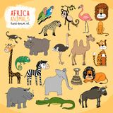 Animals of Africa hand-drawn illustration Stock Images