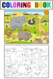 Animals of Africa savanna coloring vector for adults Royalty Free Stock Image