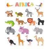 Animals of Africa. Vector set of cartoon jungle animals stock illustration