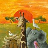Animals in African Savanna. Acrylic illustration of Animals African Savanna royalty free illustration