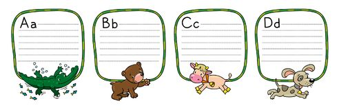 Animals alphabet or ABC. Children vector illustration of funny alligator, bear, cow and dog. Animals zoo alphabet or ABC. Including frame with dotted lines and vector illustration