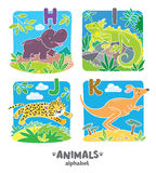 Animals alphabet or ABC. Children vector illustration of funny hippo, iguana, jaguar and kangaroo. Animals zoo alphabet or ABC vector illustration