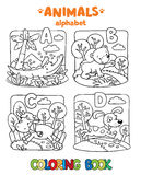 Animals alphabet or ABC. Coloring book Royalty Free Stock Photos