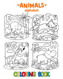 Animals alphabet or ABC. Coloring book. Coloring book or coloring picture of funny elephant, fox, hippo and giraffe. Animals zoo alphabet or ABC royalty free illustration