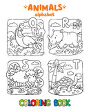 Animals alphabet or ABC. Coloring book. Coloring book or coloring picture of funny quail, rhino, sheep and turtle. Animals zoo alphabet or ABC Stock Images