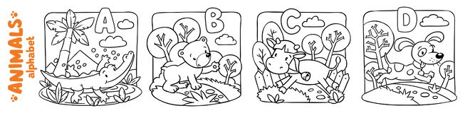 Animals alphabet or ABC. Coloring book set. Coloring book or coloring picture of funny alligator, bear, cow and dog. Animals zoo alphabet or ABC stock illustration