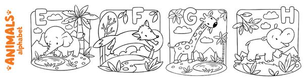 Animals alphabet or ABC. Coloring book set. Coloring book or coloring picture of funny elephant, fox, hippo and giraffe. Animals zoo alphabet or ABC vector illustration