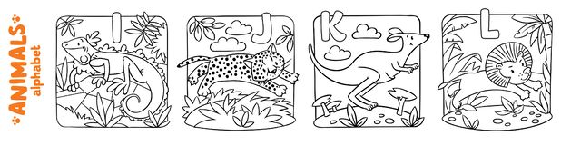 Animals alphabet or ABC. Coloring book set. Coloring book or coloring picture of funny iguana, jaguar, kangaroo and lion. Animals zoo alphabet or ABC vector illustration