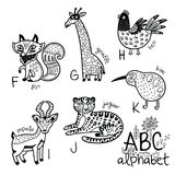 Animals alphabet F - K for children. Vector coloring page. Zoo alphabet with cartoon animals in outline. English ABC vector design for kids. Coloring page Vector Illustration