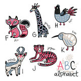 Animals alphabet F - K for children. Zoo alphabet with cartoon animals. Wall art print. English ABC vector design for kids Royalty Free Illustration