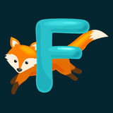 Animals alphabet for kids fish letter F, cartoon fun abc education in preschool, cute children zoo collection learning. Animal fox and letter for kids abc Stock Illustration