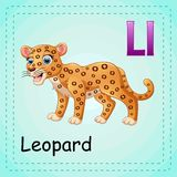 Animals alphabet: L is for Leopard Royalty Free Stock Photos