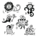 Animals alphabet L - P for children. Vector coloring page. Zoo alphabet with cartoon animals in outline. English ABC vector design for kids. Coloring page Stock Photography