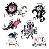 Animals alphabet L - P for children Royalty Free Stock Photo