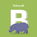 Animals Alphabet. Letter - B. Animal alphabet. Letter - B. Blue behemoth stands near letter. Alphabet learning chart with animal illustration for letter and royalty free illustration