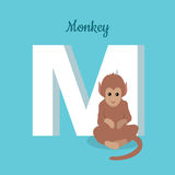 Animals Alphabet. Letter - M. Brown monkey sits near letter. Alphabet learning chart with animal illustration for letter and animal name. Vector zoo alphabet Royalty Free Stock Photo