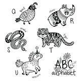 Animals alphabet Q - U for children. Vector coloring page Royalty Free Stock Photography