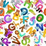Animals alphabet set for kids abc education in preschool. Cute animals letters english alphabet collection. Cartoon animals alphabet set for learning letters vector illustration
