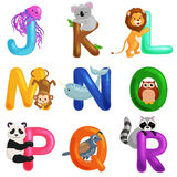 Animals alphabet set for kids abc education in preschool. Cute animals letters english alphabet collection. Cartoon animals alphabet set for learning letters Stock Illustration