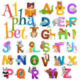 Animals alphabet set for kids abc education in preschool. vector illustration