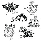 Animals alphabet V - Z for children. Vector coloring page. Zoo alphabet with cartoon animals in outline. English ABC vector design for kids. Coloring page Royalty Free Stock Photos