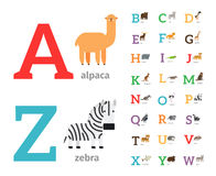 Animals alphabet vector icons. Animals alphabet or zoo alphabet colored icons. Vector illustration Stock Photography